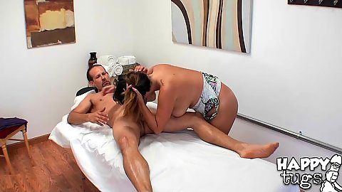 Dirty asian masseuse Gigi Skye giving head to her client