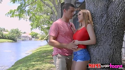 Feeling up a horny teen in shorts Dillion Harper outdoors while milf Jamie Valentine awaits