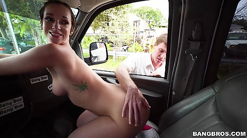 Natural tits naked bimbo Jada Stevens touched in our van