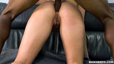 Anal penetration from the rear with white slut Kate England getting filled with black meat