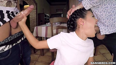 Deep throating 18 year old waitress teen Apolonia