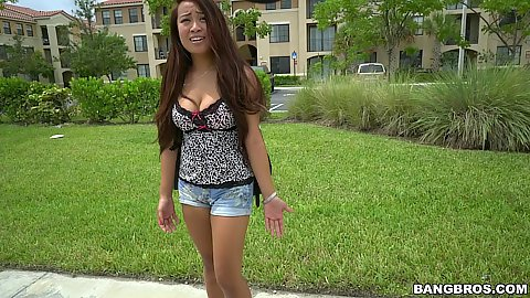 Tight asian student in shorts Sasha Yamagucci walking  home