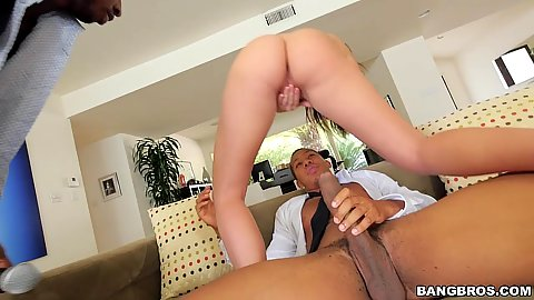 Big dick whore Karlee Grey riding two massive cocks