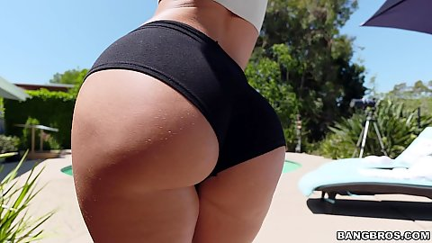 Mad ass in hotpants Jada Stevens posing her goods outdoors