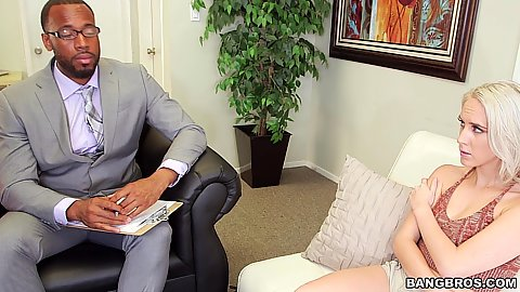 Impulsive fully clothed blonde Cadence Lux jumps at her chance to put that dick in her mouth