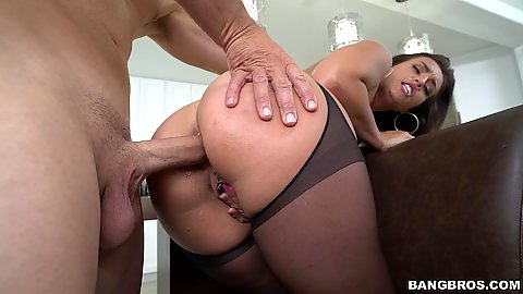 Bent over a chair Kelsi Monroe ass entered and fucked