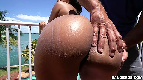 Full package ebony Katt Garcia gets oiled and ass adored outdoors