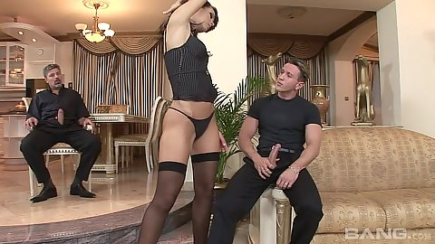 Susie Diamond teasing in her sexy stockings