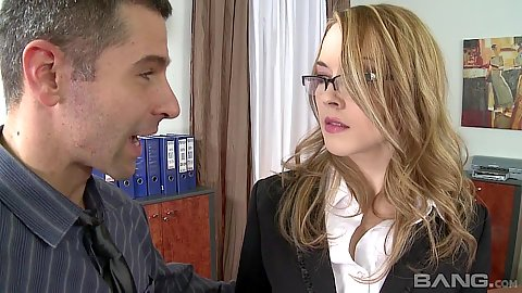 Office blonde Kandall N gets a tie in her mouth