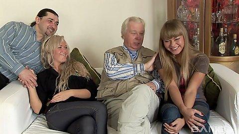 Old man young girl with two euro sluts Sveta and Nesti Shy