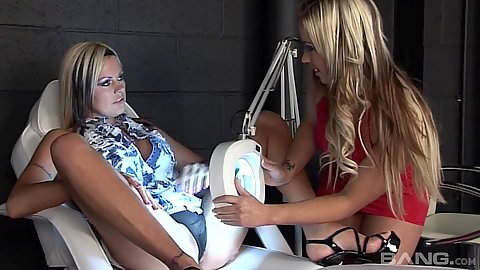 Silly lesbian girls Robin Truelove and Sophia Ferrari doing a closer pussy exam using doctors light