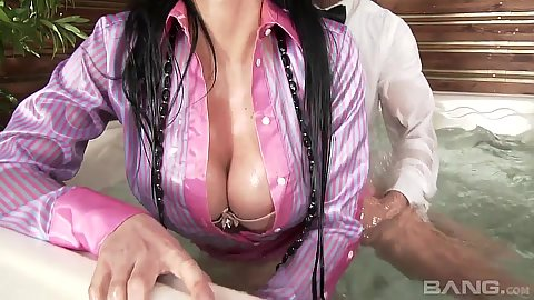 Wet and clothed big juggs milf Violet Black fucked right in the jucuzzi