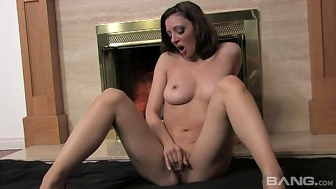 Wet vagina masturbation with fingers and a sex toy slim body brunette