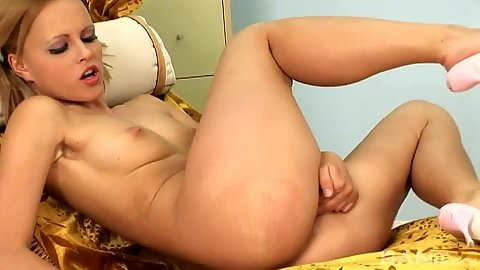 Vaginal masturbation with sexy toys and fingers from blonde Monica Sweet