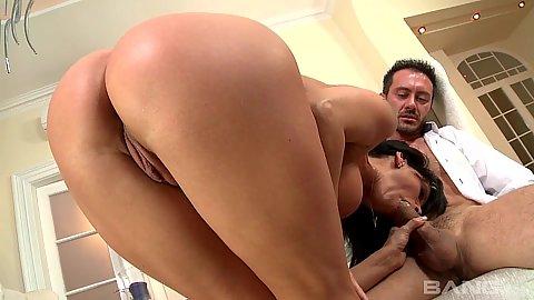 Vivacious slut Sheila Grant bents over showing off butt during blowjob