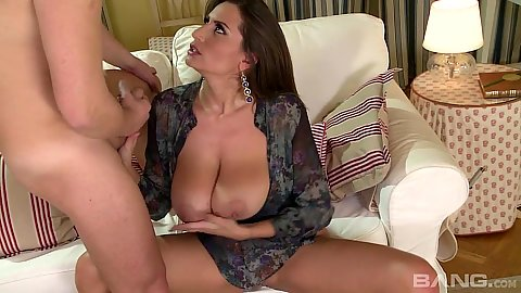 Desperate big tits brunette Sensual Jane sucks cock and titty fucks