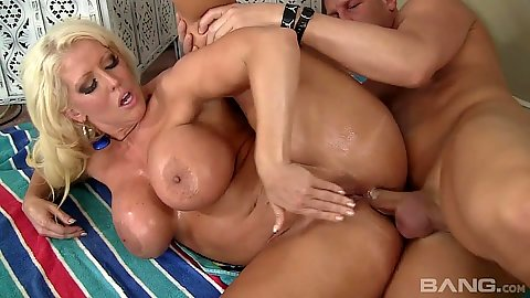 Playful big boobs milf Alura Jenson sideways sex and oil on ass