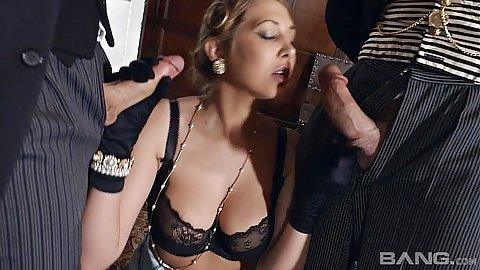 Bras and panties mmf threesome from foxy Lexi Lowe