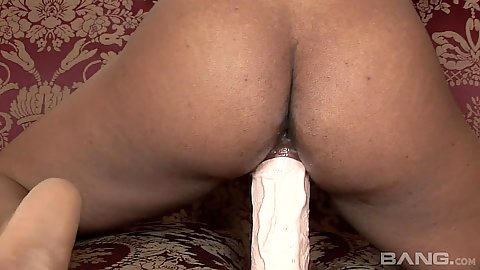 Giant dildo riding and fucking solo black girl Imani