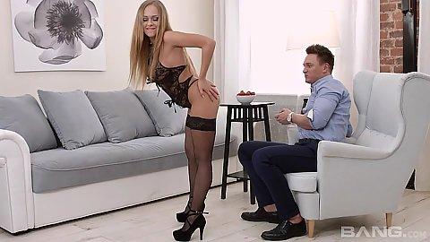 Lingerie Katarina Muti teasing man with her ass and tits