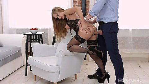 Standing fuck with lingerie fishnets Katarina Muti