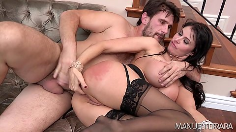 Enticing sideways ass entering and standing penetration from Eva Karerra