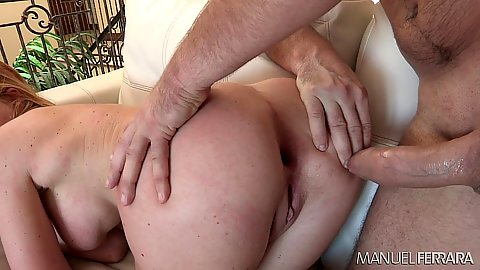 Krissy Lynn has cock repeatedly pulled in and out of ass to cause gaping