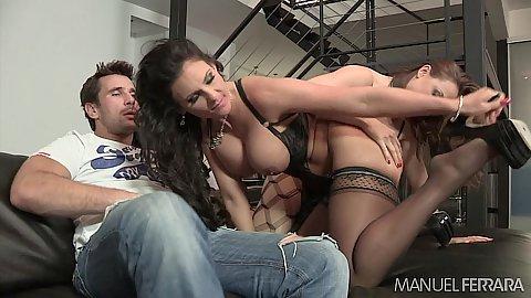 Phoenix Marie and Chanel Preston share dick in ffm threesome