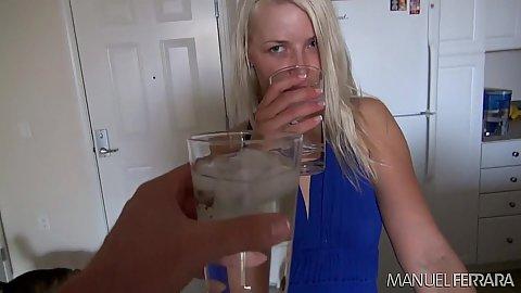 Blonde girl Anikka Albrite refreshing herself and looking sex in bathroom
