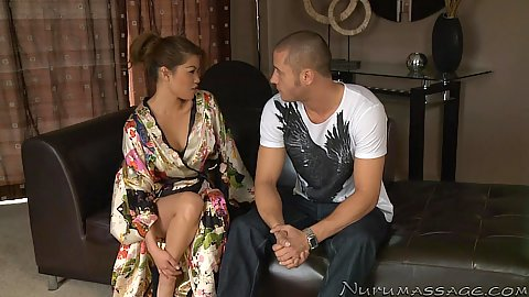 Dressed asian petite Charmane Star goes to a soapy shower for hand job