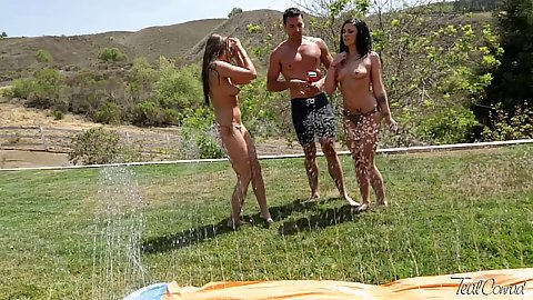 outdoors with topless sluts Teal Conrad and Andy San Dimas