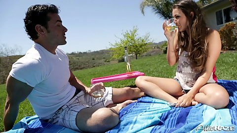 Outdoors on a picnic with tight shorts wearing girl Allie Haze
