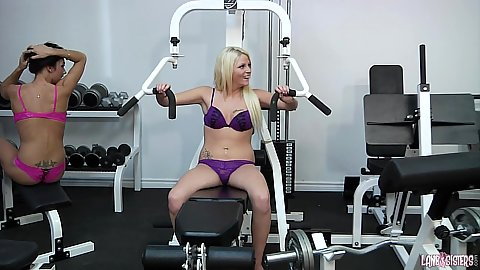 Roxy Lane and Jessica Diamond working out at the gym in bras and panties