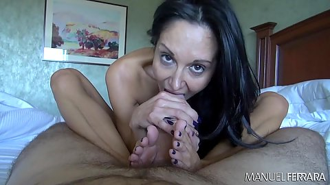 Sex craved blowjob and footjob in pov with Ava Addams
