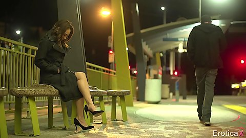 Sara Luvv chilling on bench outdoors in public waiting for a man