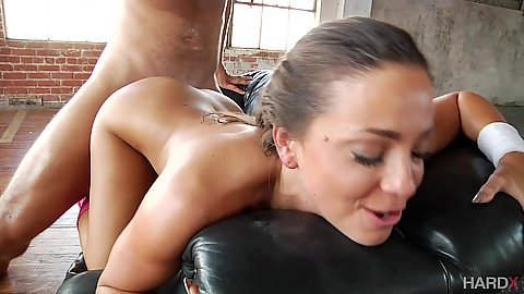 Workout brunette pornstar Abigail Mac fucked from the back and titty fuck