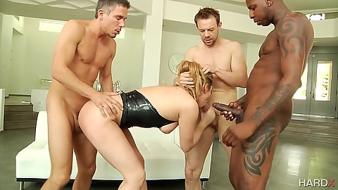 Gang bang with Dahlia Sky filled in all her holes