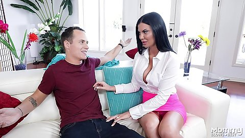 Miniskirt fully dressed milf Jasmine Jae sucks cock on couch