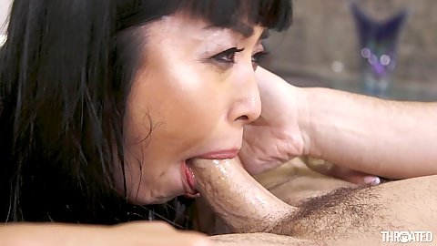 Throat fucking asian Marica Hase makes it nice and full of saliva