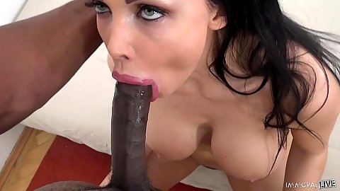 Dick sucking Aletta Ocean with cumshot on face and tits