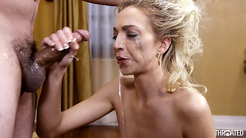 Slobbering messy deep throat with gagging Zoey Parker leaking liquids all over