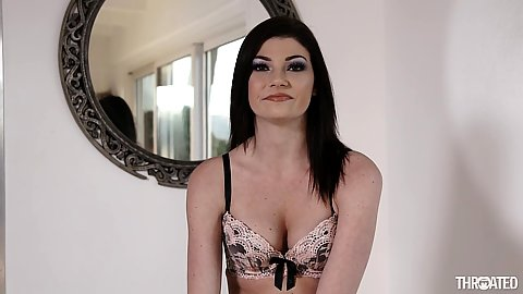 Smiling skinny small tits bras and panties Jessica Rex strips and deep throats