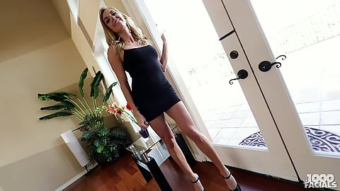 Stunning milf babe in nice dress Kate Linn teases solo and gets touched