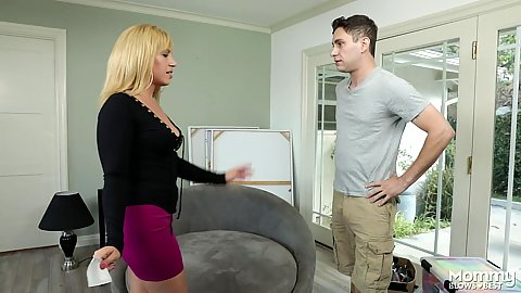 Blonde milf Stevie Lix offers boy to come closer and offer his cock