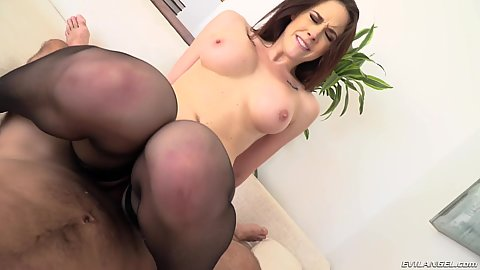 Cowgirl dick grinding with trimmed snatch Chanel Preston in stockings