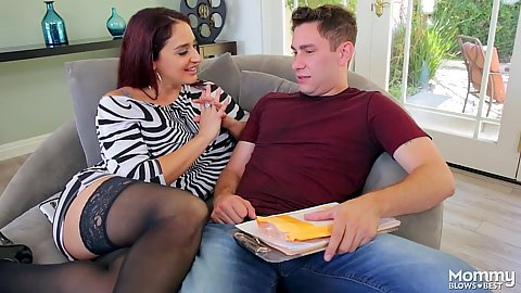 Redhead milf Sheena Ryder fully clothed looking for a promotion