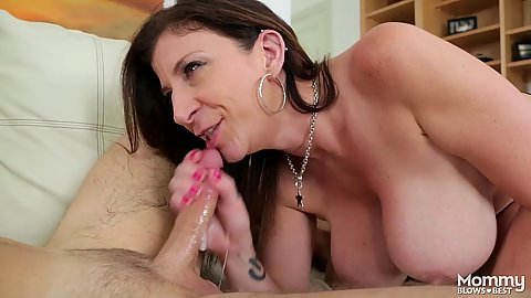 Cock blowing big chested milf Sara Jay loves a penis in her throat