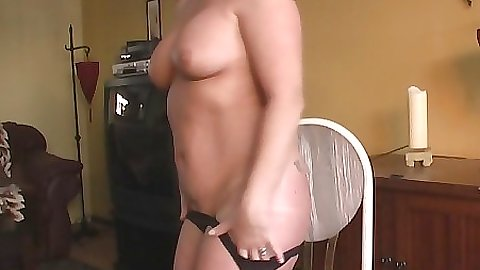 Milf sits naked on a chair with husband gone