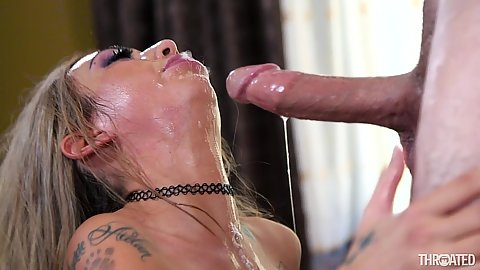 Sloppy blowjob with deep throat gagger Kat Dior also reverse blowjob