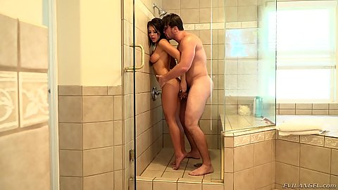 Standing shower sex with natural breasts Adriana Chechik